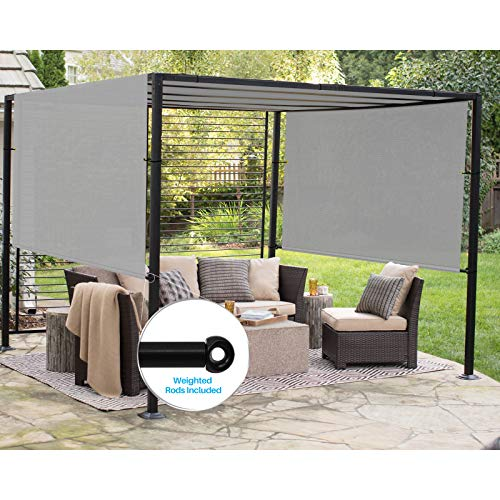 Patio Outdoor Shade Universal Replacement Pergola Canopy Cover 10'x14' Light Grey with Grommets 2 Sides Weighted Rods Included Shade Screen Panel for Balcony Deck Porch