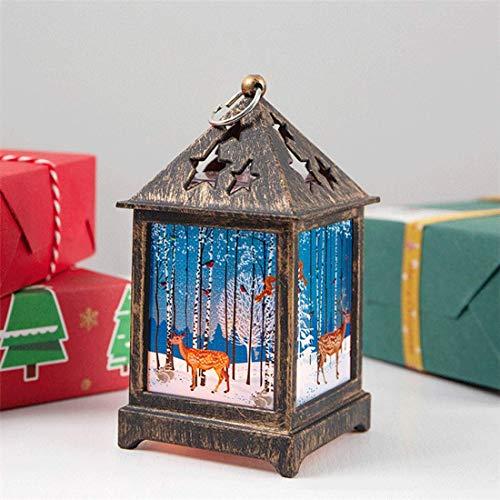 ZKZK Navidad Nueva Creativa Muñeco de Nieve Muñeco de Nieve Luz de Noche Retro Linterna de Navidad Decoración de Navidad Decoración de Escritorio Decoración Luz Luz de jardín (Bronce)