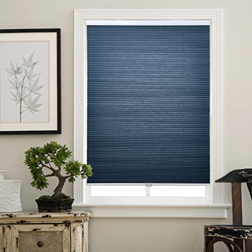 Matinss Cellular Shades Cordless Window Blinds Honeycomb Shades for Home and Windows Bedroom, Light Filtering Blue-White, 34x36