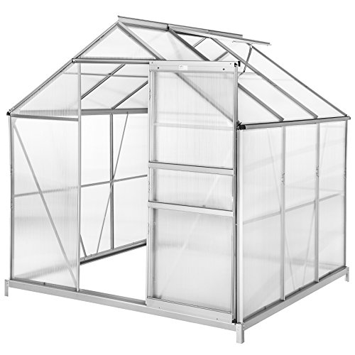 TecTake 800416 - Greenhouse Polycarbonate Aluminium, Growhouse with Window & Sliding Door 190x185x195 cm - different models - (190x185x195 cm with foundations | no. 402472)