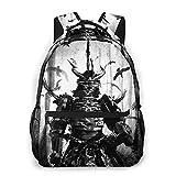 Casual Backpack,Japanese Demon In Samurai Armor Standing,Business Daypack Schoolbag For Men Women Teen
