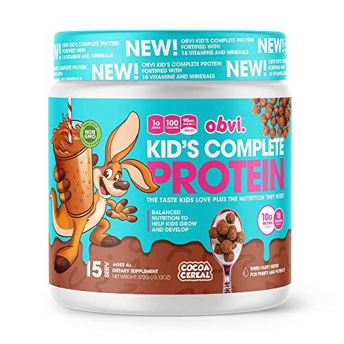 Obvi Kid's Complete Protein, High Protein, Gluten Free, Non GMO, 18 Vitamins & Minerals, Made in USA (Cocoa Cereal)