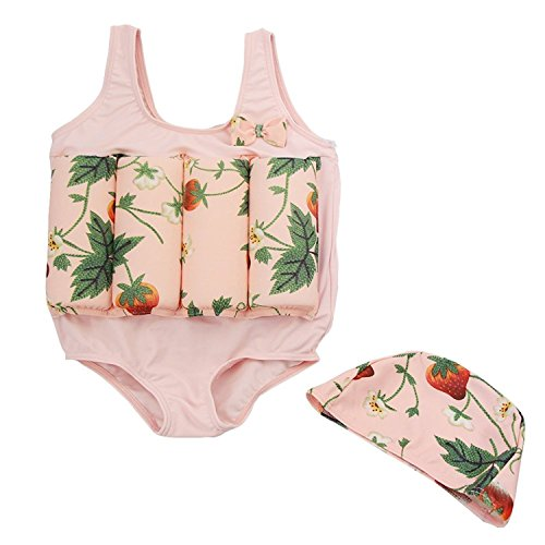 CYSTYLE Badeanzug mit Schwimmbojen Bademütze Bodycon Jumpsuit Bademode mit entnehmbare Auftriebsbojen für Kleine Jungen Mädchen Learn Swim (S (1-2Jahre)/ Height 85CM-95CM, Pink)