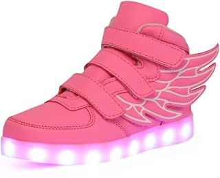 KARKEIN LED Light Up Hi-Top Wings Shoes USB Rechargeable Flashing Sneakers for Toddlers Kids Boys Girls