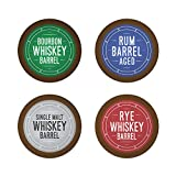 Bourbon Barrel Aged K-Cups Coffee 24ct Variety Pack Set, Single Origin Coffee Paired with Bourbon, Rye Whiskey, Malt Whiskey and Rum, 24ct