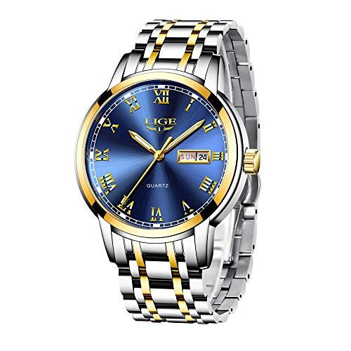 LIGE Herrenuhr Männlich Wasserdicht Edelstahl Analoger Quarz Armbanduhr Kalender Uhr für Männer Mode Geschäfts Datum Silber Blau Armbanduhren Elegant Kleid Herren Uhren
