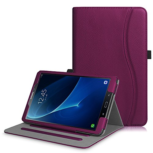 Fintie Coque pour Samsung Galaxy Tab A6 A 10.1 2016 - [Protection d'angle] Étui de Protection Multi Angles Stand Housse Case Cover avec Pocket et Fonction Sommeil/Réveil Automatique, Pourpre