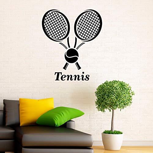 JXWH Tennis Club Logo Wandaufkleber Gym Sport Innendekoration Tennis Vinyl Wandtattoos Abnehmbare Tennisschläger Aufkleber 57x66 cm