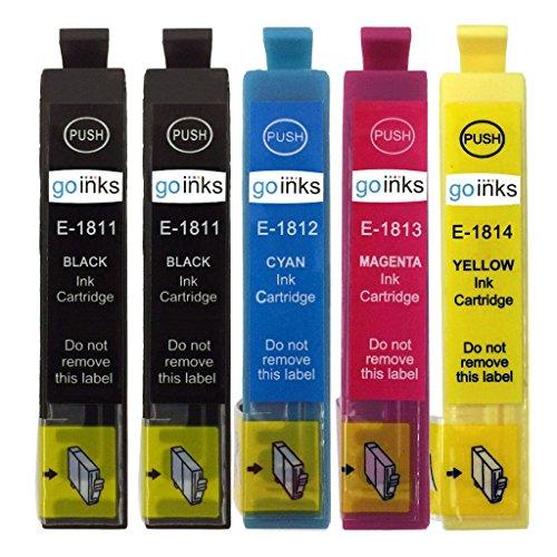 Go Inks - Juego de 4 Cartuchos de Tinta Extra Negros para reemplazar Epson T1816 + T1811 (Serie 18XL), Compatible con impresoras Epson Expression Home (5 tintas), Color Negro, Cian, Magenta, Amarillo