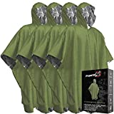 Emergency Blanket Poncho - Keeps You and Your Gear Dry and Warm | Survival Gear and Equipment for Outdoor Activity | Camping and Hiking Gear | Thermal Mylar Space Rain Ponchos | 4 Pack (Green)