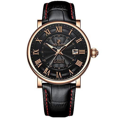 Orologio automatico da uomo LACZ DENTON orologio da polso meccanico analogico impermeabile orologi casual da uomo (1308A oro nero)
