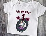 Ich bin jetzt 1 Baby T-Shirt Einhorn Unicorn Glitzer Geschenk erster Geburtstag Strampler weiß kurzarm Baumwolle