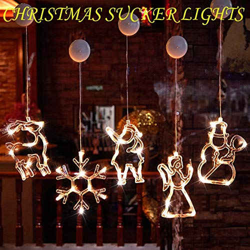 ROKTUD Christmas Sucker Lights, LED Christmas Decorations Snowman Santa Elk Christmas Tree Glowing Lights for Festival, Party, Indoor Outdoor Room Window Wall Christmas Decor 1-5 Pack