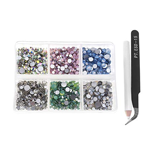 6-kleurige Opal Jelly Nail Art Strass Kit met opbergdoos Wax Picker Potloden en Pincetten Flat Back Crystal Mix Sized 3D Nagel Tips DIY Decoratie