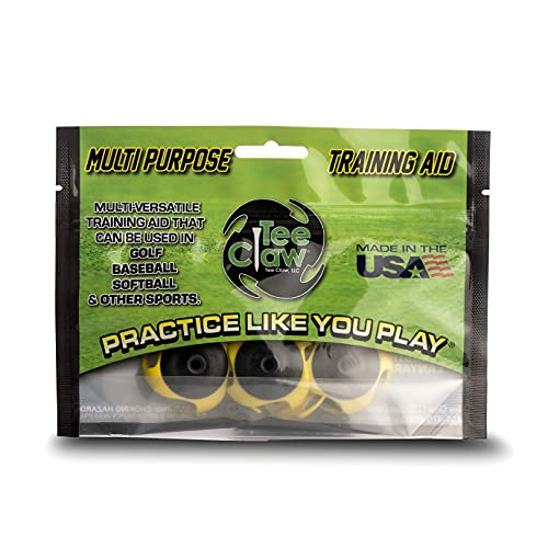 Tee Claw Golf Training Aid Kit, Artificial Turf Tee Holder and Training Aid (Black Yellow, 4-Pack)