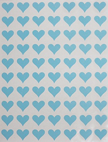Royal Green Heart Label Sticker in Light Blue for Invitation Seals - 350 Pack 1/2' (0.5 inch) Heart Stickers for Gift Packaging, Boxes and Bags