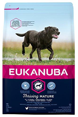 Eukanuba hondenvoeding voor grote rassen, premium droogvoer met vers kip, Band., 3 kg, Mature & Senior grote rassen