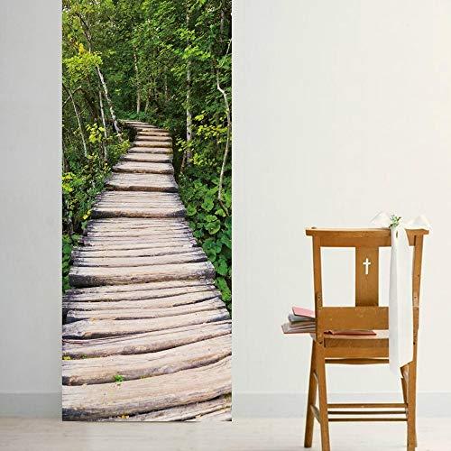 Türaufkleber Holz Stein Treppen Aufkleber Für Hauptdekoration Renovierung Grüne Bäume Selbstklebende Tür Aufkleber Treppenhaus Tapete Wandbild 88 * 200cm