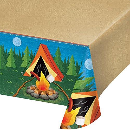 Creative Converting 329320 Camping Design Rectangular Plastic Tablecover, 1 Pc