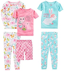 Coordinating six-piece pajama set featuring one long-sleeve top, two short-sleeve tops, one pair of shorts, and two pairs of pants with ribbed cuffs Scalloped picot trim at crew necklines. Bottoms feature elasticized waistbands. Pants have banded cuf...