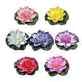 GHHG 7 plantas artificiales de espuma realista para estanque de loto de lirios para decoración del hogar