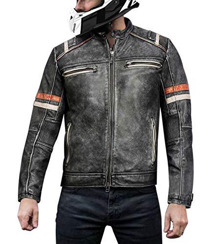 CHICAGO-FASHIONS Mens Retro Cafe Racer Vintage Biker Distressed Black Motorcycle Leather Jacket, Medium