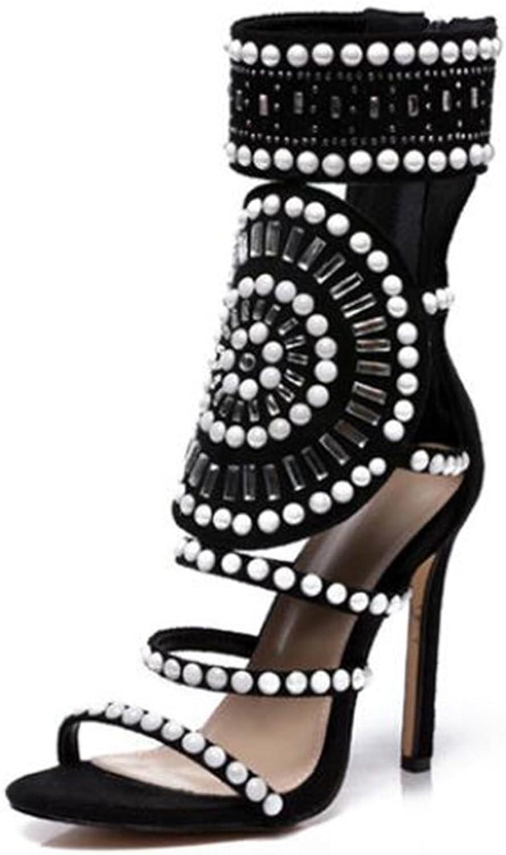Hollow Rhinestone Stiletto Heels Roman Sandals,Black,37