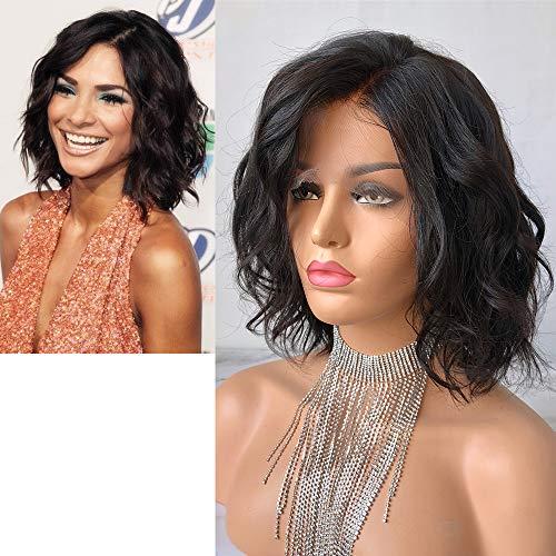Cbwigs - Perruque de cheveux brésilien Remy humains bouclés courts avec dentelle à l'avant, 150% (25,4 cm)