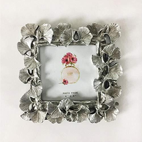 XCVB Home Retro Decor Ornamenten Fotolijst 4/6 Inch Creatieve Hars Gouden Ginkgo Leaf Frame Vintage Fotolijst Bruiloft, 4 inch-Zilver