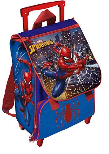 51 xBnRnRZL - Mochila con Ruedas Extensible para niños, diseño de Spiderman, 40 cm, Color Azul