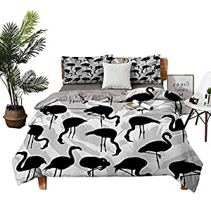 DRAGON VINES Four-Piece Bedding Full Size Bed a King Size Sheet Set Flamingo Bird Silhouettes and Feathers Illustration Design Black and Grey Red Quilt Cover