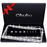 Ohuhu Bling License Plate Frames 2 Pack with Mounting Accessories and Gift Box, Luxury Handcrafted Premium Rhinestone...