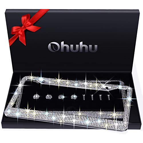 Ohuhu Bling License Plate Frames 2 Pack with Mounting Accessories and Gift Box, Luxury Handcrafted Premium Rhinestone Glitter Sparkly License Plate Frame