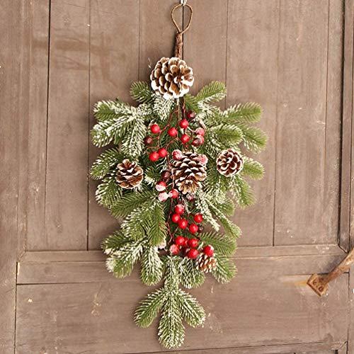 OIJN Artificial Christmas American pine cone cane hanging upside down, artificial Christmas teardrop wreath, front door flocking Christmas decoration