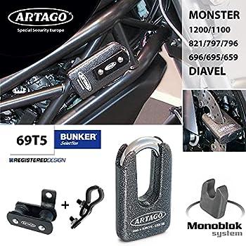Artago 69t5Cadenas antivol Disque Haute Gamme et Support pour Ducati Monster et diavel, Double Fermeture Ø 15homologué SRA, Sold Secure Gold, art4, Métallique