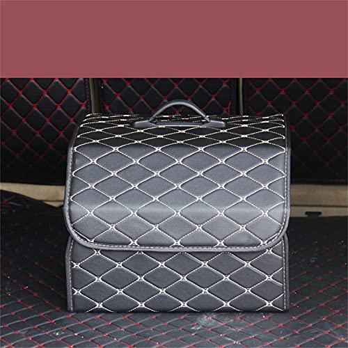JTKJ Car Trunk Organizer Box Grande Capacità Auto Multiuso Strumenti Storage Bag Stowing Riordino Pelle Pieghevole Per Emergenza Scatola Di Immagazzinaggio Riso Filo Bianco Moderato