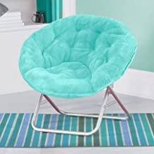Mainstays Faux-Fur Saucer Chair with Cool faux-fur fabric, soft and wide seat, Perfect for lounging, dorms or any room in Multiple colors (Aqua Wind)