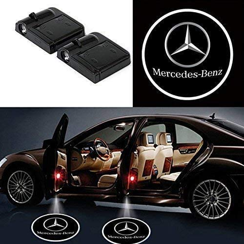 Bearfire 2 Pcs Wireless Car Door Led Welcome Laser Projector Logo Light Ghost Shadow Light Lamp Logos fit Mercedes Benz accessory