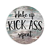 Wake Up Kick Ass Repeat Workout Wooden Circle Sign, Rustic Wood Plaque Decor, Wall Hanging Artwork, Funny Home Decoration, 12 Inch with a Rope