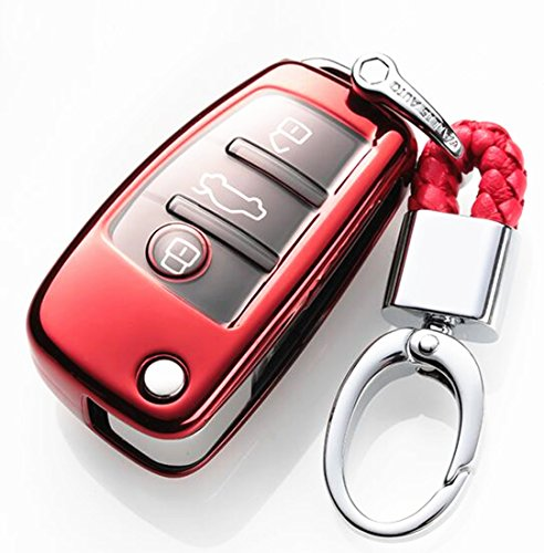 YUWATON Car Key Chians Key Case Cover for Audi A3 A4L A5 A6 Q3 Q5 Q7 TT S Folding Key Cover Key Case Key Fob(red)