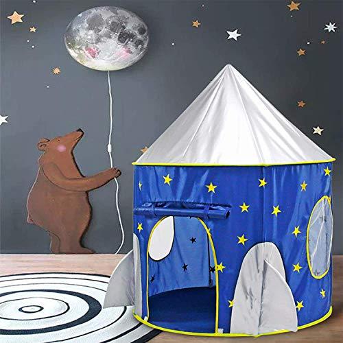 子供テント男の子のおもちゃハウス夜光のキッズテントハウスロケット型折り畳み式知育玩具室内遊具簡単に組立お誕生日出産祝いクリスマスのプレゼントおままごとMonobeach(紺色)