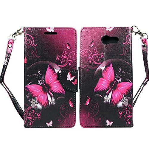 Samsung J7 V Case, Galaxy J7 Prime, J7 Perx, J7 Sky Pro Wallet Pouch Folio PU Leather Case w/[Kickstand] ID Card Slot Wrist Strap For Galaxy J7V, J7 Prime by Zase (Hot Pink Butterfly Flower)