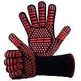 Grillhandschuhe,Ofenhandschuhe BBQ Kochenhandschuhe Backhandschuhe Hitzefeste Handschuhe Kaminhandschuhe bis zu 800°C 1 Paar Silikon