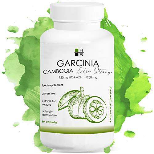 GARCINIA Cambogia EXTRA Fuerte | 1200 mg | 720 mg HCA | 60 cápsulas | quema de grasa | acelera el metabolismo de los lípidos | equilibrio del peso | Producto italiano