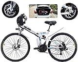 Bicicleta eléctrica de nieve, E-bici plegable de la montaña eléctrica, Bicicletas 500W nieve, 21 Velocidad 3 Modo de visualización LCD for adultos completa Suspensión 26' Ruedas Bicicleta eléctrica fo