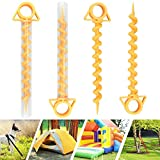 EMAGEREN 4 Pcs Tent Pegs Beach Stakes for Canopy Screw Ground Anchor Nail