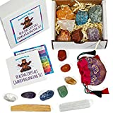 Dancing Bear Healing Crystals Chakra Balance Kit (17 Pc Starter Set), 7 Tumbled & 7 Rough Stones, Selenite Stick & Palo Santo Smudge for Good Energy, Chart & Guide with Metaphysical Info, Made in USA