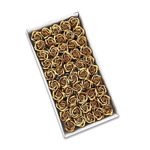 Künstliche Blumen Heißer Weiche romantische duftende 3 Schichten Gold Silber Rose Kopf Künstliche Dekoration Hochzeitsstrauß Geschenkboxen Seifenblumen (Color : Golden)