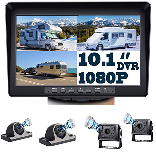 Backup Camera with Large 10.1'' Monitor and DVR for RV Truck Trailer Rear Side Front Backing View Wired System 1080P HD Image 4 Split Screen Advanced Recorder 64G IP69 Waterproof Avoid Blind Spot A101