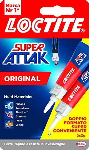 Loctite Super Attak Original Bipack, colla liquida trasparente in confezione convenienza, colla resistente per gomma, metallo, ceramica, legno, cuoio, pelle, 3g+3g
